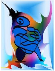«Mère avec son bébé» Peinture numérique sur toile.