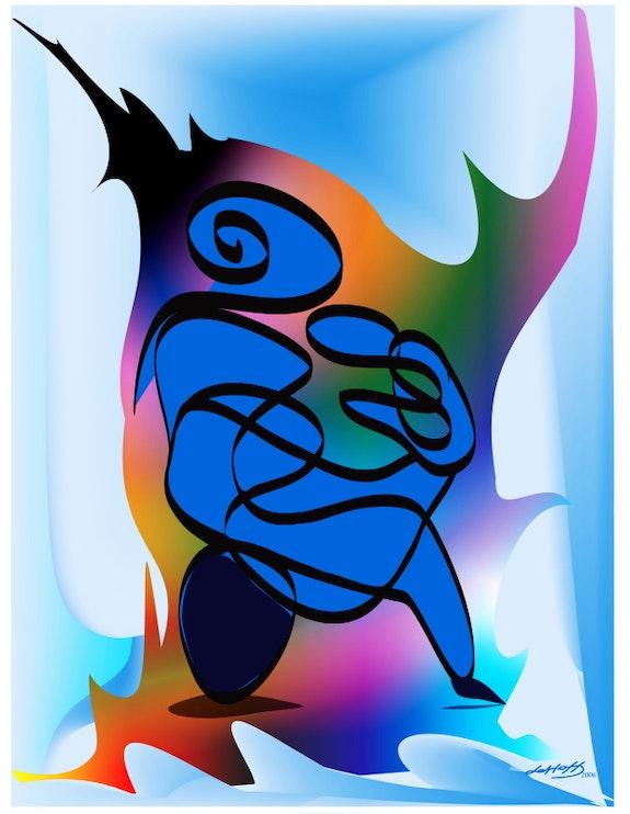 «Madre con su bebé» Pintura digital en lienzo. Leslie Frank Hollander Leslie Frank Hollander