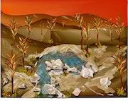 «Puesta de sol» Pintura digital en lienzo.