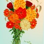 «Bouquet de fleurs» Peinture numérique sur toile. Leslie Frank Hollander