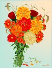 «Bouquet de fleurs» Peinture numérique sur toile.