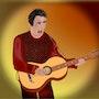 «Solo Guitarrista» Pintura digital en lienzo. Leslie Frank Hollander