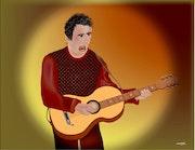 «Solo Guitariste» Peinture numérique sur toile.