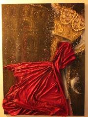 Danse sanglante (tauraumachie, tauraux, cape rouge, toréador, arène, acrylique). Maye