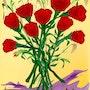 «Roses» Peinture numérique sur toile. Leslie Frank Hollander