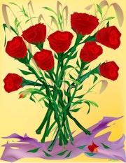 «Roses» Peinture numérique sur toile.
