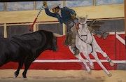 Corrida de toros a caballo.