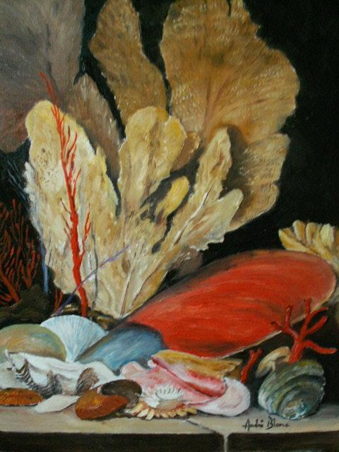 Nature morte copiée d'après une artiste que j'aime Anne Vallayer costerl.  Andre Blanc