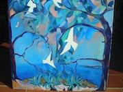 Tauben in den Kiefern im Mittelmeer. Jacques Blasco