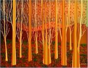 «Golden Forest» Digitale Malerei auf Leinwand.