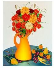 «Flowers and Fruits» Digital painting on Canvas.