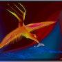 «Firebird» Peinture numérique sur toile. Leslie Frank Hollander