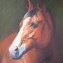 Horse's head in pastel. Gisel'art