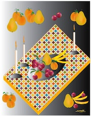 «Fruits on the table» Digital painting on Canvas.
