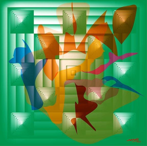 «Geometrische 55» Digitale Malerei auf Leinwand. Leslie Frank Hollander Leslie Frank Hollander
