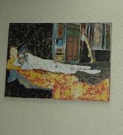 Femme couchée (acrylique, collage) d'après document.