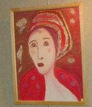 Rouge Baiser (huile, collage) d'après document et mon imaginaire. Nanou