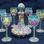 Service à vin fleuri «le printemps». Akba