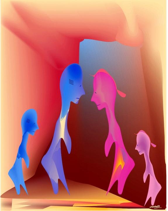 «Ufo Family» Digital painting on Canvas. Leslie Frank Hollander Leslie Frank Hollander