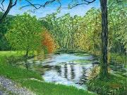 L'étang aux Planches près d'Arbois, (39) - acrylique sur toile 80 X 60.