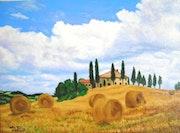 Les moissons en Toscane.