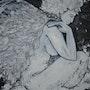 Angélie. K, tableau technique mixte, noir et blanc. Delphine Kalasz