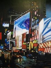 Vue de New York la nuit au couteau et pinceau.
