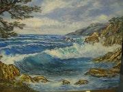 Marine : «après l'orage» - Fafrégas - un coin de plage (83500 La Seyne Sur Mer).