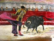 Dernier rugissant du taureau - Toréador dans l'arène -.
