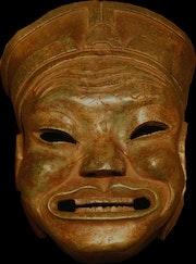 Masque nuo dieu du sol et des céréales en bronze. Jiwen