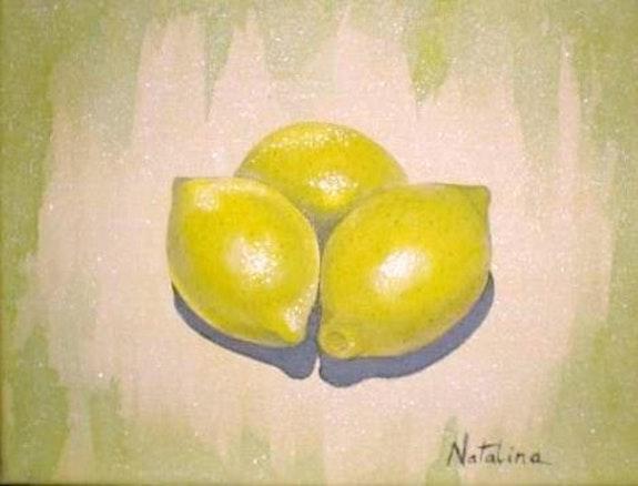 Limones - acrílico sobre lienzo. Natalina Natalina