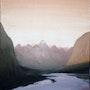 Paysage montagneux - acrylique sur toile. Natalina