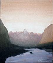 Paysage montagneux - acrylique sur toile.