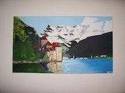 Prise de vue du Château de Chillon au bord du lac léman.