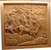 Indios americanos a caballo (2200 hrs de trabajo)tallado en una pieza.