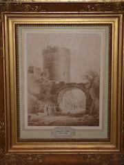 Paysage à la tour, Jean Victor Nicolle, dessin au lavis, fin 18ème début 19ème. Desarnaud Antiquaire