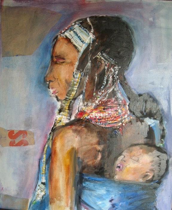 Femme africaine et son enfant.  Izabelle Petit