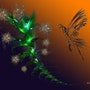 La fleur et l'oiseau, résultats de fractales, et composition. Clément Perrenx