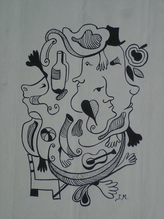 J. Miro : Laurel & Hardy à table. Juan Miro (? ) (Attribué À). Monogramme J. M. Historien d'art, Archéologue; Chercheur Free-L.