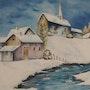 Un pequeño pueblo en la nieve .... Monique Vacher