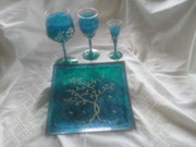 "Services' winter twigs silver on turquoise "". Couleur Azur"
