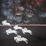 5 Frauen (1-4); Männer 1-4 (8 Bilder einer Serie). Peter Rudolf Müller