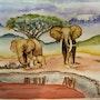 Famille d'éléphants devant le Kilimandjaro. Sylvia Patissier-Gauthier