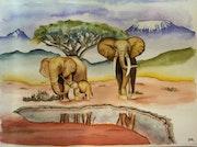 Famille d'éléphants devant le Kilimandjaro.