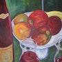 Bouteille et coupe de fruits. Guy Buecher