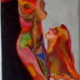 Une femme avec une femme. Artiste Patricia Mazzeo