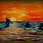 Cueilleurs de moules au soleil couchant. Gérard Pitavy