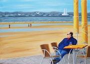 Café sur la plage de Trouville s/mer.
