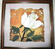 Tableau Rose Blanche - Peinture sur soie. Elena k & Elena k