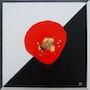 La diagonale - Composition mixte acrylique, or et cuivre. Beuz-Art